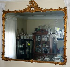 050055 FRENCH GESSO STYLE GILT WOOD MIRROR C 1900