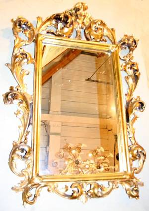 050052 FLORENTINE GESSO GILT WOOD MIRROR C1900 H36