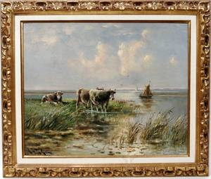 042015 HUGO ANTON FISHER OIL ON PANEL COWS AT RIVER