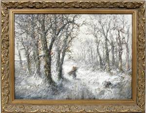 042012 HUGO ANTON FISHER WATERCOLOR WINTERY FOREST