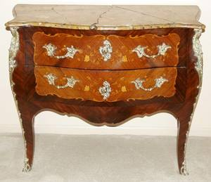 042025 FRENCH LOUIS XV MARQUETRY  MARBLE TOP COMMODE
