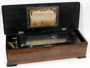 041022 SWISS ROSEWOOD CYLINDER MUSIC BOX 19TH C