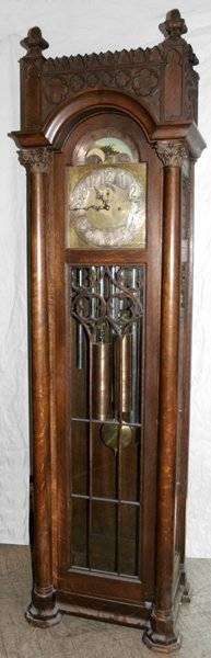 041041 ELLIOT GOTHIC REVIVAL OAK GRANDFATHER CLOCK