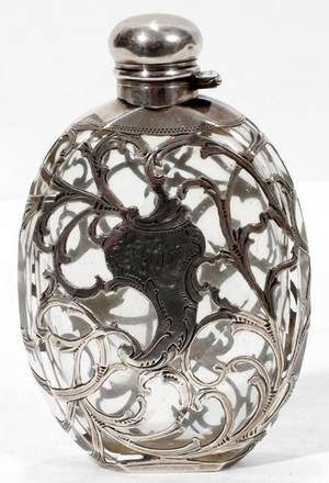 031016 ALVIN STERLING SILVER OVERLAY GLASS FLASK