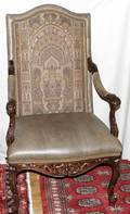 030016 CARVED WALNUT OPEN ARM CHAIRS 20TH C 2
