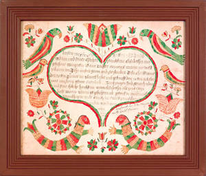 ITW ArtistBerks County Pennsylvania watercolor and ink on paper fraktur birth certificate for Jacob Adams 1805