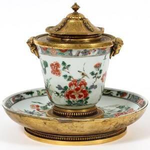 FRENCH BRONZEMOUNTED CHINESE PORCELAIN ENCRIER