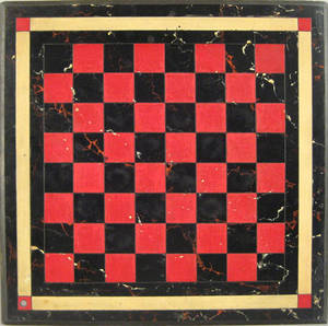 Painted slate checkerboard ca 1900