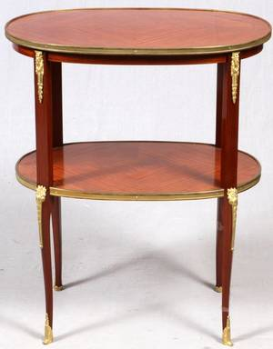 FRENCH LOUIS XVI STYLE MAHOGANY TWOTIER TABLE