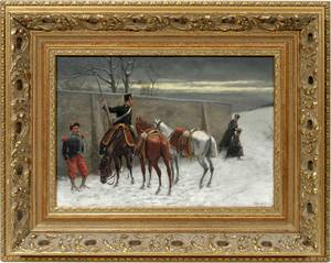 080077 CHRISTIAN SELL OIL ON CANVAS MILITARY SCENE