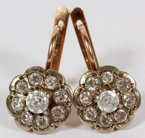 14KT YELLOW GOLD  DIAMOND CLUSTER DANGLE EARRINGS