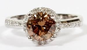 FANCY BROWN DIAMOND  50CT SIDE DIAMONDS RING