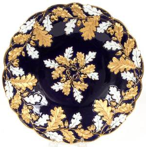 MEISSEN COBALT  FIRED GOLD PORCELAIN BOWL C 1950
