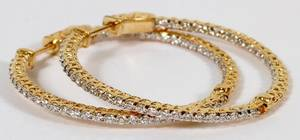 130CT DIAMONDS  14KT YELLOW GOLD HOOP EARRINGS