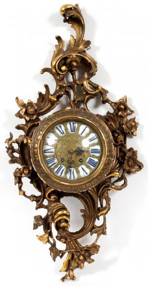 FRENCH GILT GESSO  WOOD CARTEL CLOCK LATE 19TH C