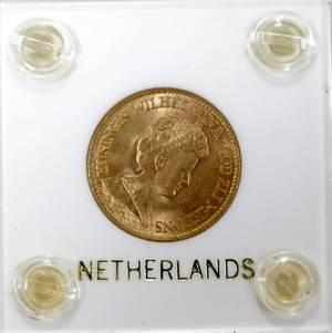090141 QUEEN WILHEMENIA SHIELD GOLD KONINGIN COIN