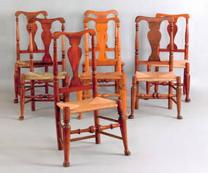 Assembled set of 7 New England Queen Anne dining chairs 18th c