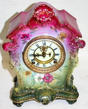 090117 ANSONIA OF NEW YORK PORCELAIN MANTLE CLOCK