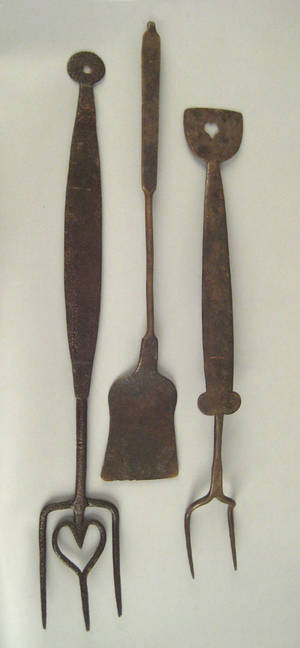 Three Pennsylvania wrought iron kitchen utensils early 19th c