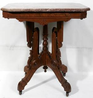 081146 LATE VICTORIAN WALNUT TABLE W MARBLE TOP