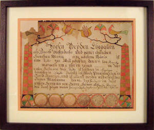 Lehigh County Pennsylvania ink and watercolor fraktur dated 1814 made for Marianna Diefenderfer