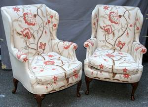 071127 KINDEL QUEEN ANNE STYL CREWEL WING BACK CHAIRS