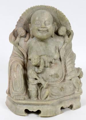 CHINESE CARVED SOAPSTONE BUDDHA