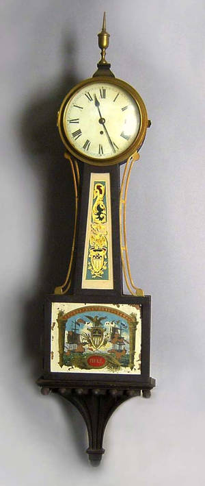Federal style banjo clock with wall bracket