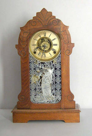 Ansonia walnut mantle clock