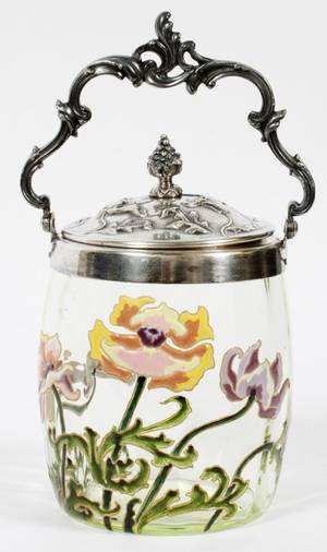 FRENCH ART NOUVEAU ENAMELED GLASS BISCUIT JAR
