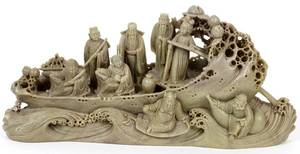 CHINESE CARVED SOAPSTONE FIGURES  BOAT
