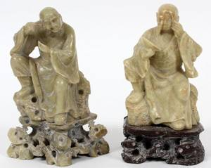 CHINESE CARVED SOAPSTONE FIGURES TWO
