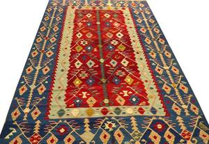 TURKISH KILIM HAND WOVEN WOOL RUG W 8 6 L 12