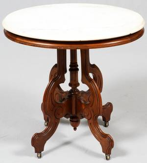 AMERICAN MARBLE TOP WALNUT TABLE