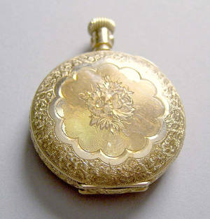 Elgin 14K gold ladies pocket watch inscribed Jennie Bolen