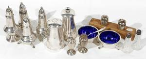 081241 SILVER OPEN SALTS SALT  PEPPER SHAKERS