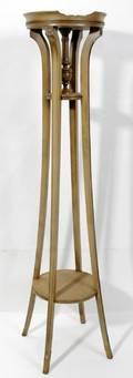 080234 ART DECO STYLE PECAN WOOD PEDESTAL 1920