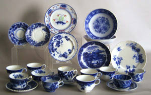 Group of flow blue to include cups and saucers