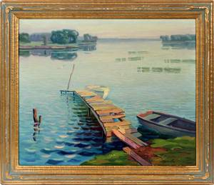 A JONKER OIL ON CANVAS BOATS AT DOCK ON LAKE 1945