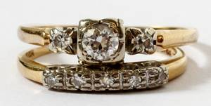 14KT YELLOW GOLD  DIAMOND WEDDING RING ENSEMBLE