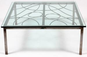 MIDCENTURY MODERN METAL AND GLASS COFFEE TABLE