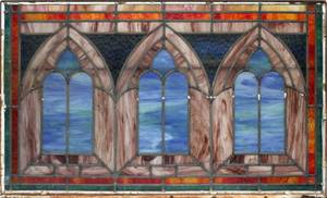 LEADED STAINED GLASS WINDOW CIRCA EARLY 20TH C