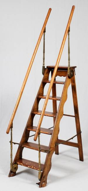 FOLDING WALNUT LIBRARY LADDER