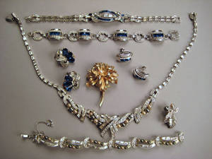 Marcel Boucher sterling and rhinestone bracelet and earring set