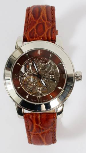 DUBOULE GENTLEMENS STAINLESS STEEL SKELTON WATCH