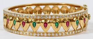 GOLD RUBY EMERALD  DIAMOND HINGED BANGLE BRACELET