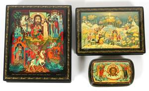 RUSSIAN HAND PAINTED LACQUER BOXES LATE 20TH C