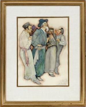 SAUL RASKIN WATERCOLOR A WALK WITH THE RABBI