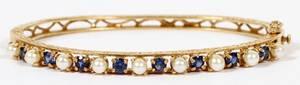 YELLOW GOLD BLUE SAPPHIRE  PEARL BANGLE BRACELET