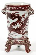 CHINESE MAROON AND WHITE PORCELAIN VASE